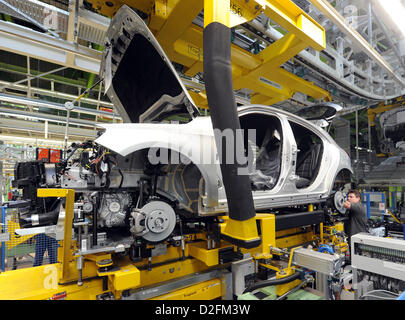 A car is produced at the plant Rastatt of Daimler AG on Monday, 16 July 2012, for the production start of the Mercedes - Stock Photo