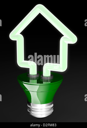 Energy saving green light bulb in the shape of a house - energy efficiency renewable energy concept - Stock Photo