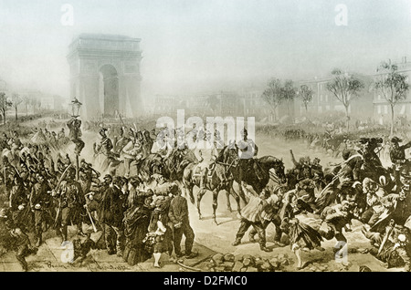 The arrival of the Germans in Paris on 1 March 1871, Avenue des Champs-Élysées with the Arc de Triomphe, Paris, - Stock Photo