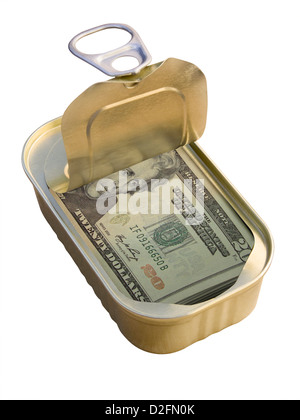 Ring Pull Tin containing 20 Dollar notes on white background - saving / hiding money concept - Stock Photo