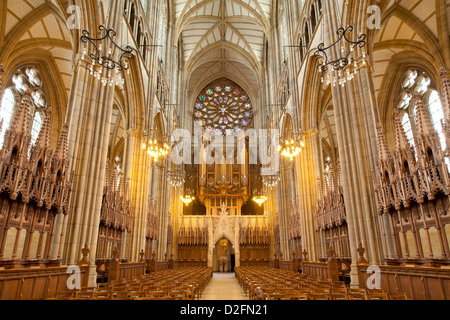 Interior of Lancing College Chapel, looking towards the rose window - Stock Photo