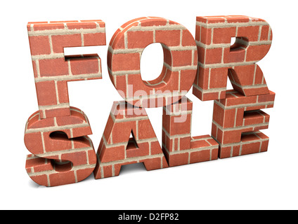 FOR SALE - made from bricks isolated on a white background. - Stock Photo