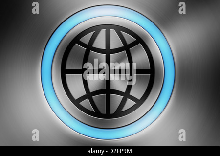 Glowing computer button with a globe symbol - global technology / communication / business / world / globalisation - Stock Photo