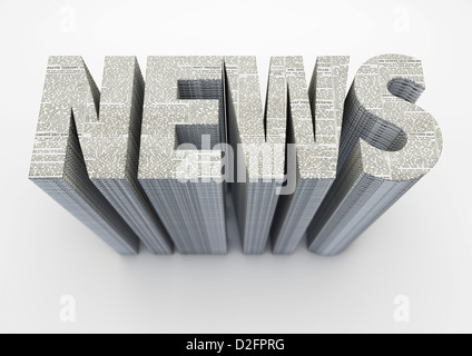 The word NEWS made from stacked newspapers on off white background - Stock Photo