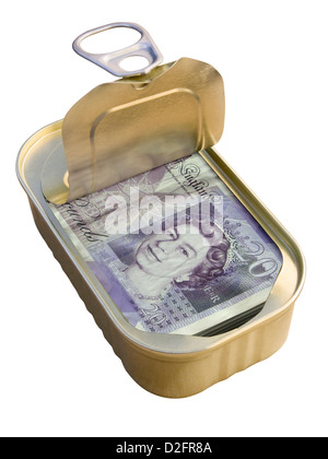 Ring Pull Tin containing £20 notes on white background - hidden / offshore / tax haven / security concept - Stock Photo