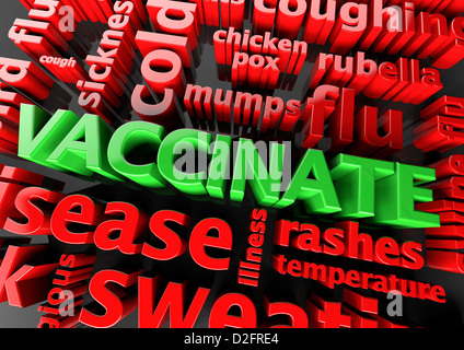 Concept vaccination - The word Vaccinate surrounded by various symptom words - Stock Photo