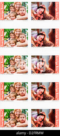Postage stamps from Sweden in the  SOS Children Aid Organization series issued in 2013 - Stock Photo