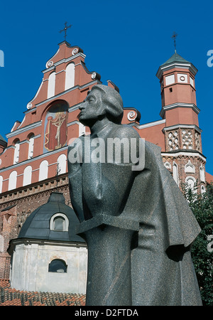 Adam Bernard Mickiewicz ((1798-1855) . Polish national poet, essayist, and political writer. Statue. Vilnius. Lithuania. - Stock Photo