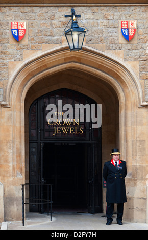 Grand entrance to the Jewel House at the Tower of London where the Crown Jewels are kept on display, London England - Stock Photo