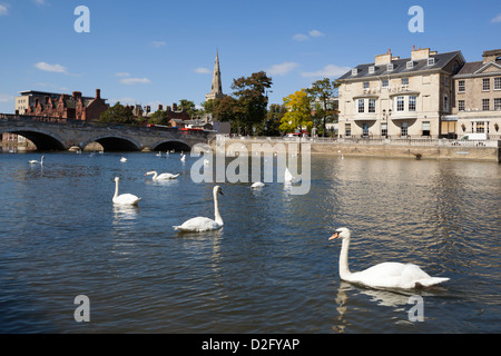 Swan Hotel by River Great Ouse - Stock Photo