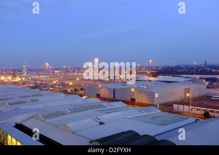 Southampton docks in the early morning light seen from high up on the Cunard liner, Queen Victoria - Stock Photo