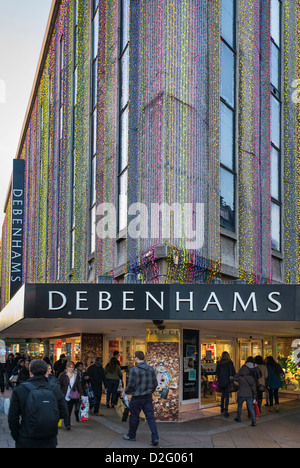 Debenhams department store, Oxford Street, London, UK in the late afternoon - Stock Photo