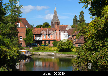 Village beside River Thames - Stock Photo