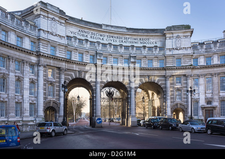 Admiralty Arch, looking down The Mall, London, England, UK in the late afternoon - Stock Photo