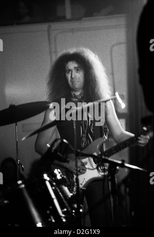 Original Motorhead guitarist formerly with Pink Fairies band Larry Wallis playing guitar at a gig London England - Stock Photo