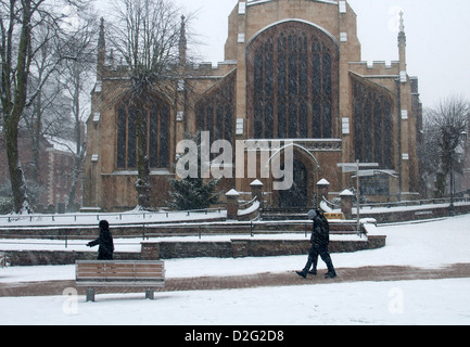 Holy Trinity Church in snowy weather, Coventry, UK - Stock Photo