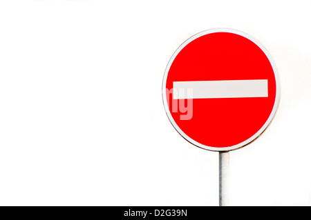 no entry road sign isolated - Stock Photo