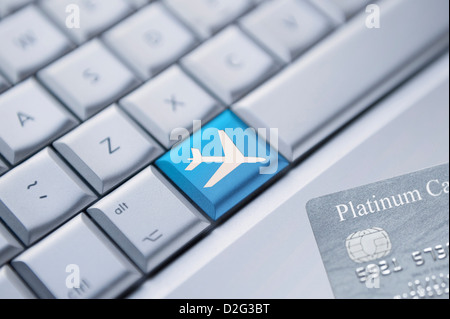 Booking flights / holiday online - Stock Photo