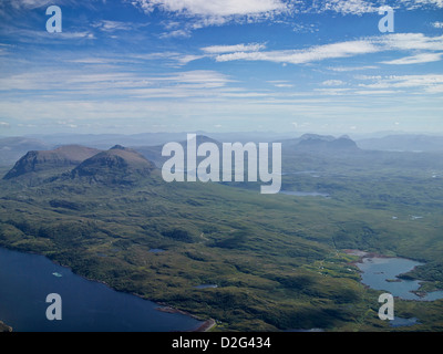A wonderful panorama shot from the air of Loch Laxford with Ben Hope, Ben Kilbreck and Ben Mor Assynt, Sutherland, - Stock Photo