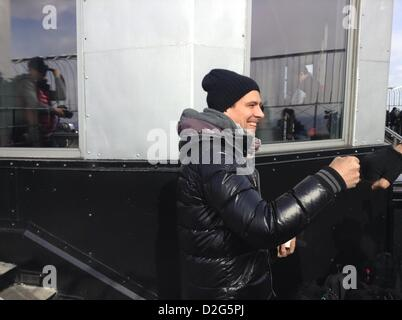 New York City, NY, USA. 23 Jan 2013. Germany's DJ Thomas Gold at the Empire State Building's 86 floor observatory - Stock Photo