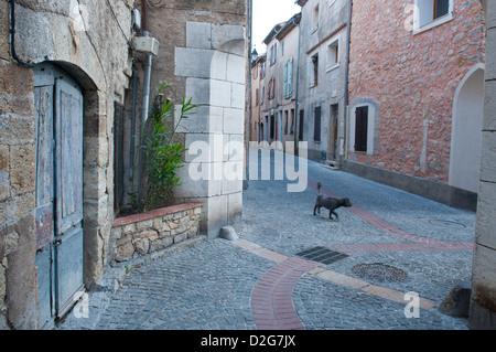 Typical street scene Montauroux Provence France - Stock Photo