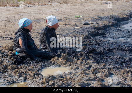 The mud health spa Kuyalnik, Odessa, Kuyalnik Estuary, Ukraine, Eastern Europe  - Stock Photo