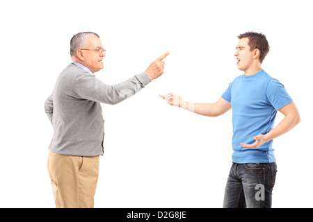 Father and son having an argument isolated on white background - Stock Photo