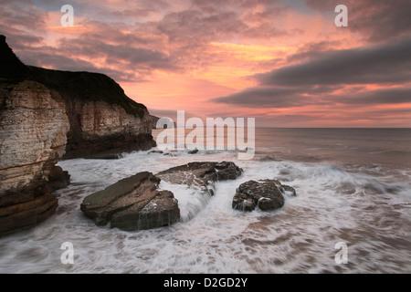 Thornwick Bay Sunrise, Flamborough Head North Yorkshire - Stock Photo