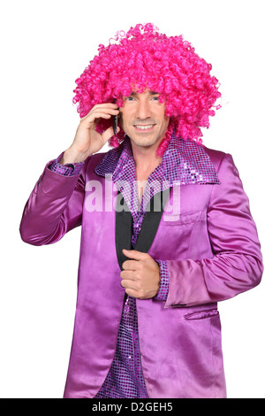 Man in a seventies costume - Stock Photo