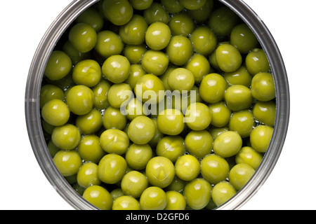 Canned green peas isolated on white background. Top view - Stock Photo