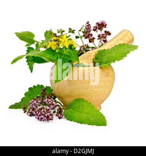 Sprigs of mint, lemon balm, oregano, tutsan, sage leaves in a wooden mortar and on the table isolated on white background - Stock Photo