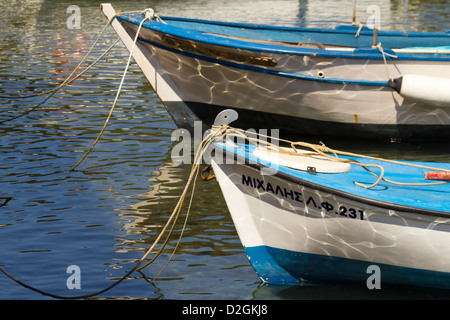 Colorful traditional fishing boats in harbor, Poros, Kefalonia, Greece, Europe - Stock Photo