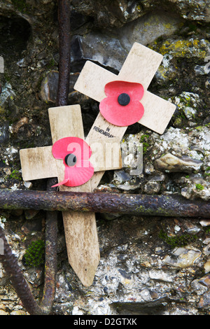 Two in remembrance crosses with poppies sit on moss covered stone at the Commonwealth war graves commission cemetery - Stock Photo