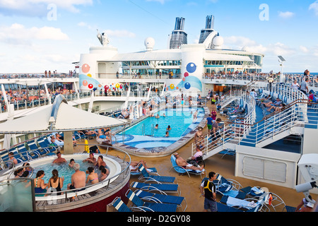 Passengers on deck of  a cruise ship - Stock Photo