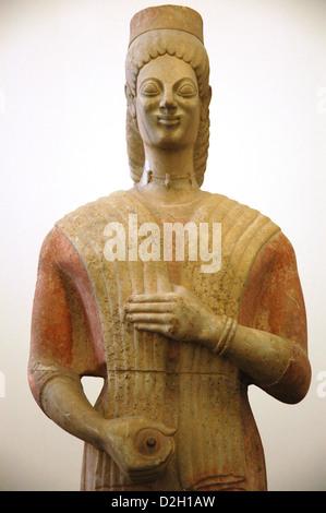 Berlin Goddess. 580-560 BC. Kore from the cemetery of Keratea (South of Attica). Detail. Pergamon Museum. Berlin. - Stock Photo