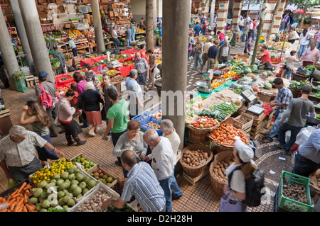 Mercado dos Lavradores the covered market for producers of island fruit Funchal Madeira Portugal EU Europe - Stock Photo