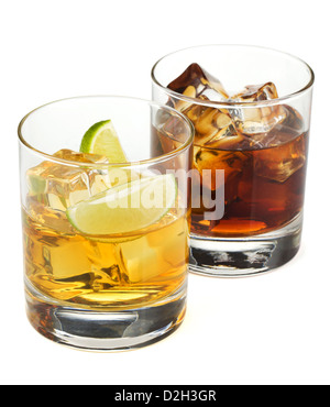 Whiskey and cola cocktails. Isolated on white background - Stock Photo