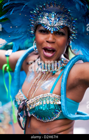 A female dancer at the Notting Hill Carnival 2011. - Stock Photo