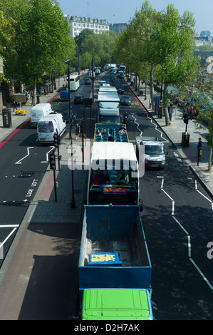 England London Embankment. VIew from Hungerford Bridge looking down at road traffic on Embankment - Stock Photo