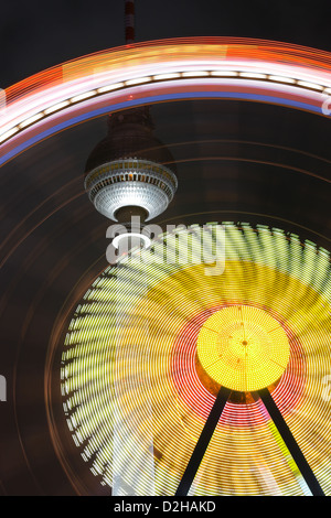 Berlin, Germany, in front of the TV Tower Ferris Wheel - Stock Photo