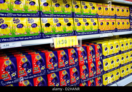 A display of Easter Eggs in A UK Supermarket - Stock Photo