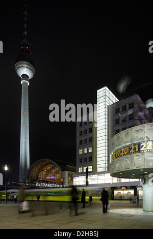 Berlin, Germany, TV Tower, Alexanderplatz, and the World Clock House Berolina - Stock Photo