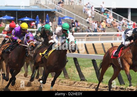 Horse Racing at River Downs track, Cincinnati, Ohio, USA. - Stock Photo