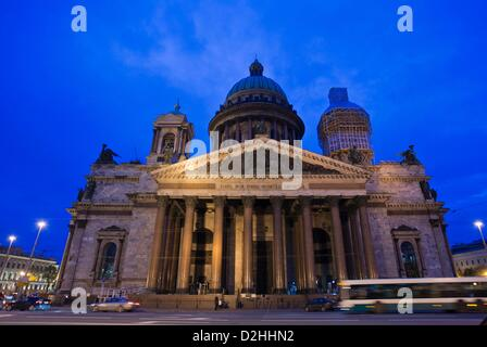 The church of Saint Isaac's Cathedral with its golden dome and the inscription 'Petro Primo Catarina Secunda' (lit. - Stock Photo