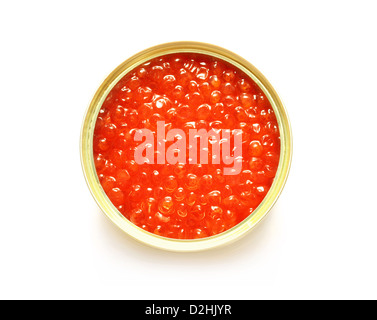 red caviar in the open metal container isolated on white - Stock Photo