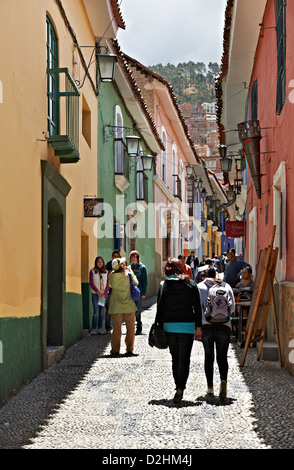 Jaen Street, last historic road, La Paz, Bolivia, South America - Stock Photo