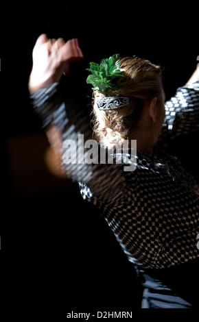 Spain, Barcelona, a Flamenco exhibition in the Tablao de Carmen - Stock Photo