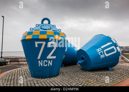 Large mooring buoy on the River Tyne Between North Shields and Tynemouth, Newcastle, UK - Stock Photo