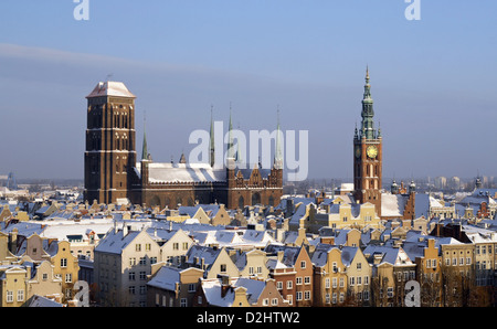 Gdansk downtown landmarks in the winter, with snowy roofs - Stock Photo
