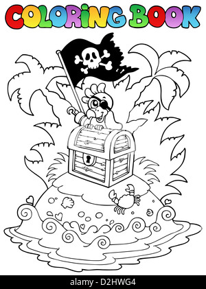 Coloring book with pirate topic 3 - picture illustration. - Stock Photo
